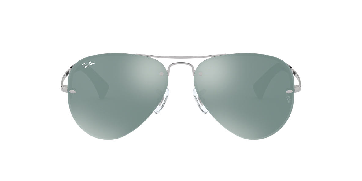RAY-BAN Silver RB3449 Green lenses 59mm