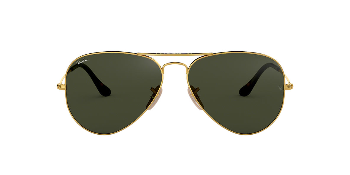 RAY-BAN Gold RB3025 62 ORIGINAL AVIATOR Green lenses 62mm