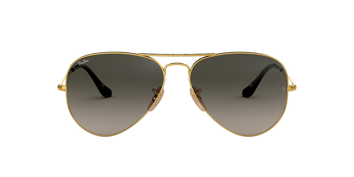 RAY-BAN Gold RB3025 58 ORIGINAL AVIATOR Grey lenses 58mm