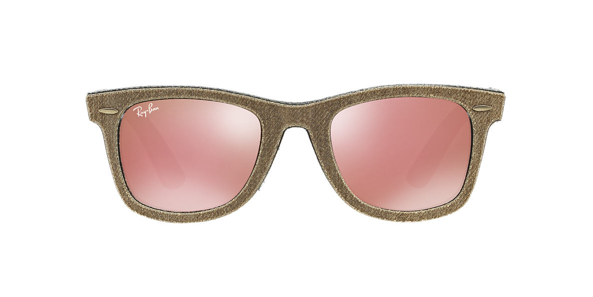 RAY-BAN Brown RB2140 50 ORIGINAL WAYFARER Pink lenses 50mm