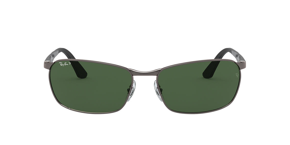 RAY-BAN Silver RB3534 Green polarised lenses 62mm