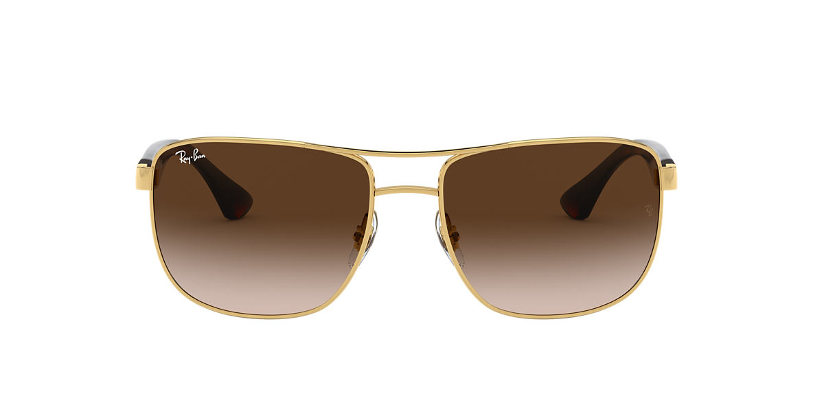 RAY-BAN Gold RB3533 57 Brown lenses 57mm