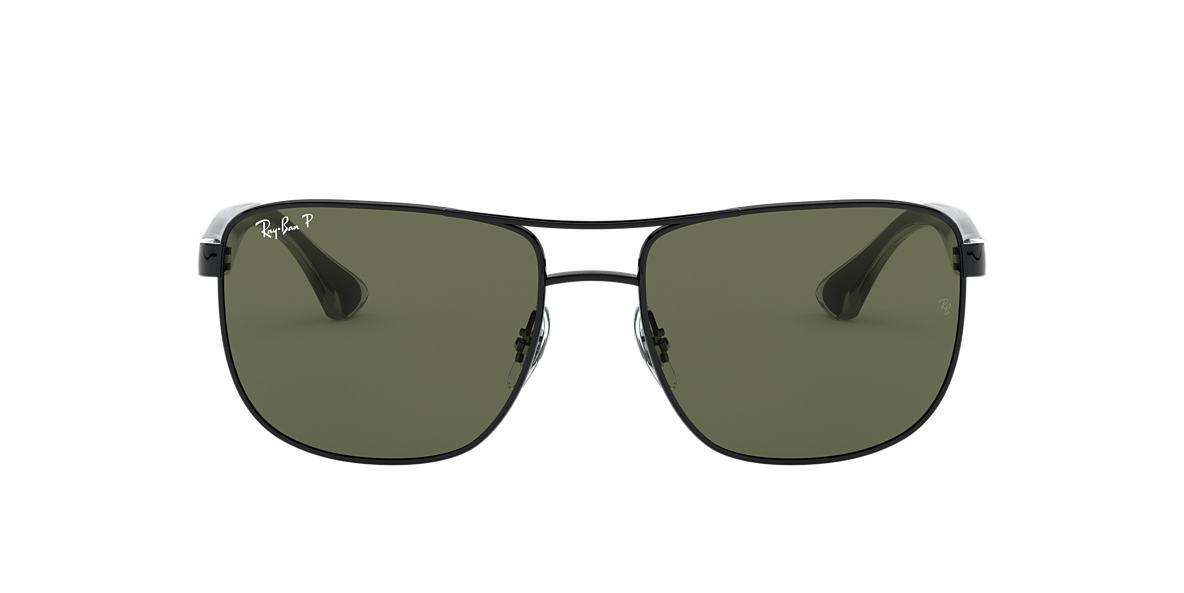 RAY-BAN Black RB3533 57 Green polarized lenses 57mm