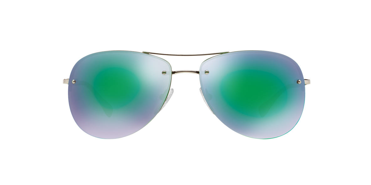 PRADA LINEA ROSSA Silver PS 50RS 59 Green lenses 59mm