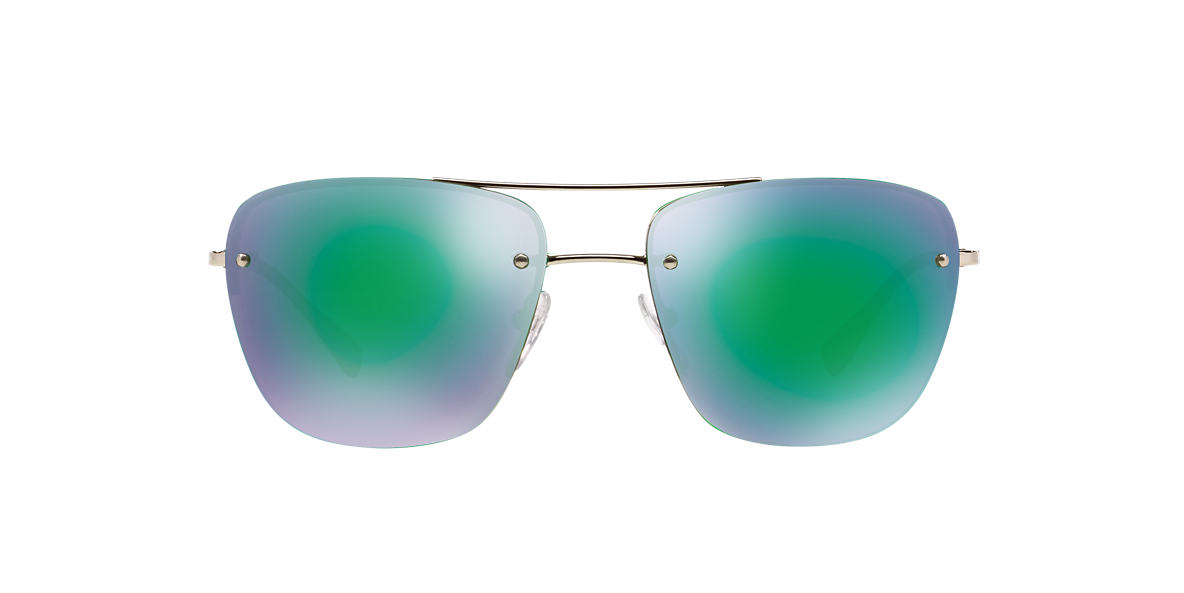 PRADA LINEA ROSSA Silver PS 52RS 56 Green lenses 56mm