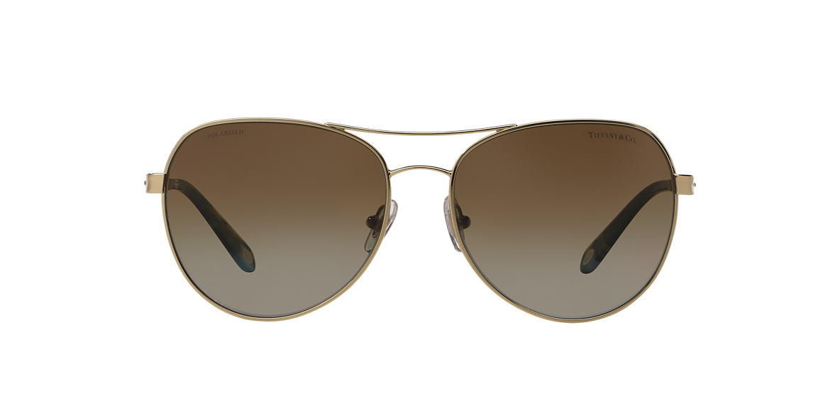 TIFFANY & CO Gold TF3051B Brown polarised lenses 58mm