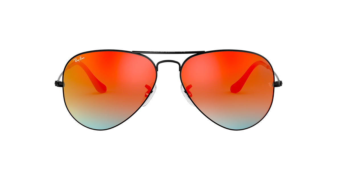 RAY-BAN Black RB3025 58 ORIGINAL AVIATOR Orange lenses 58mm