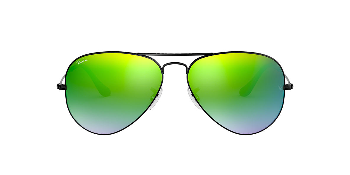 RAY-BAN Black RB3025 55 ORIGINAL AVIATOR Green lenses 55mm