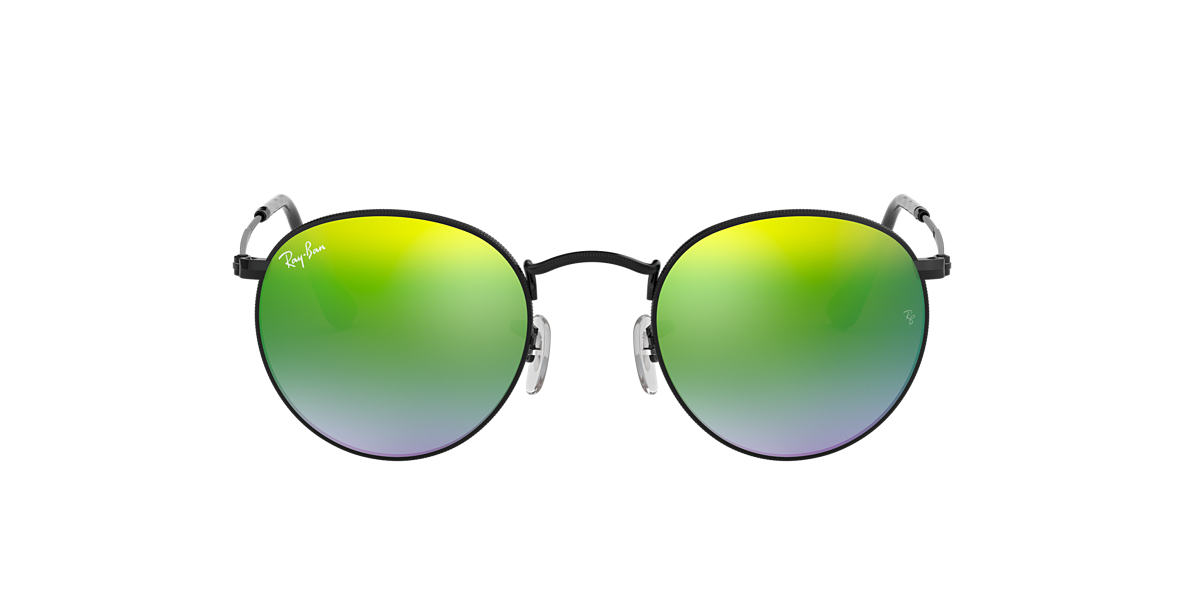 RAY-BAN Black RB3447 50 ROUND METAL Green lenses 50mm