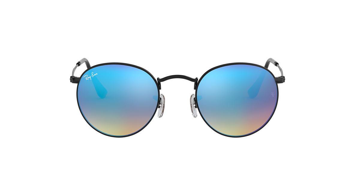 RAY-BAN Black RB3447 50 ROUND METAL Blue lenses 50mm