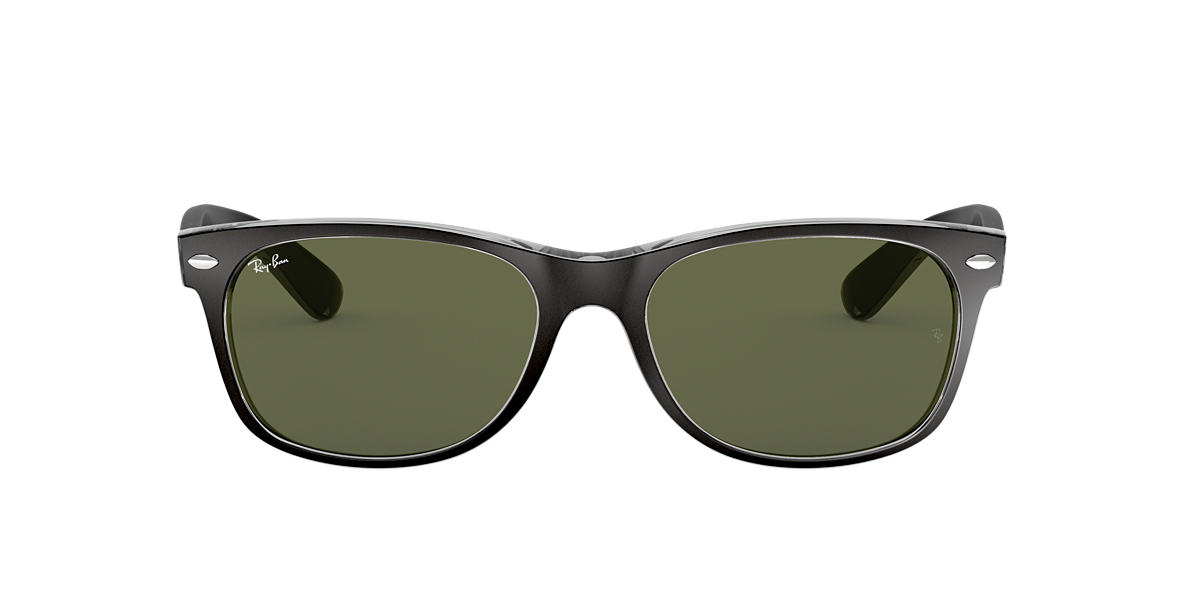 RAY-BAN Black RB2132 58 NEW WAYFARER Green lenses 58mm