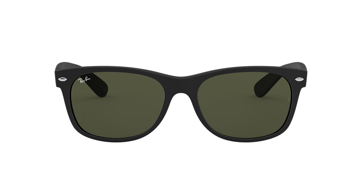 RAY-BAN Black Matte RB2132 58 NEW WAYFARER Green lenses 58mm