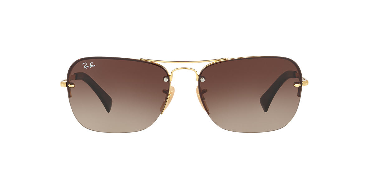 RAY-BAN Gold RB3541 61 Brown lenses 61mm