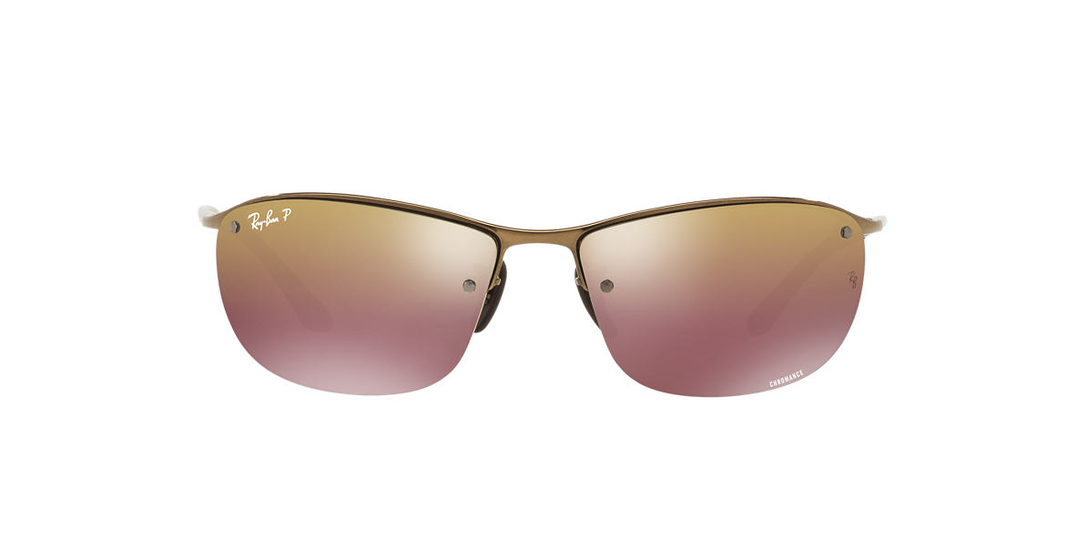 RAY-BAN Brown RB3542 63 Rose Gold polarized lenses 63mm