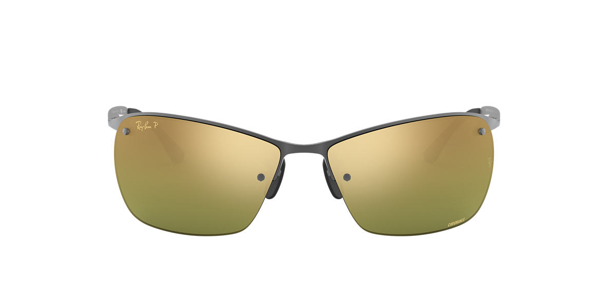 RAY-BAN Gunmetal Matte RB3544 64 Green polarized lenses 64mm