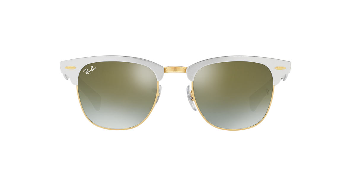 RAY-BAN Silver RB3507 51 CLUBMASTER ALUMINUM Green lenses 51mm