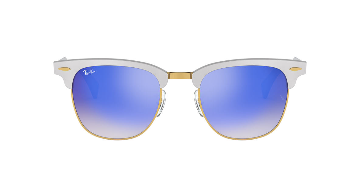 RAY-BAN Silver RB3507 51 CLUBMASTER ALUMINUM Blue lenses 51mm