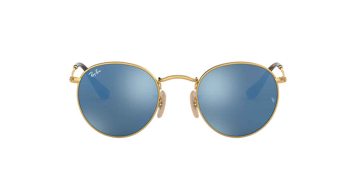 RAY-BAN Gold Shiny RB3447N 47 ROUND METAL Blue lenses 47mm