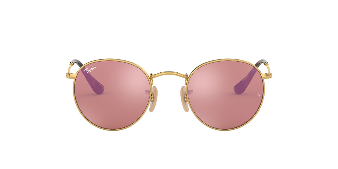 RAY-BAN Gold Shiny RB3447N 50 ROUND METAL Pink lenses 50mm