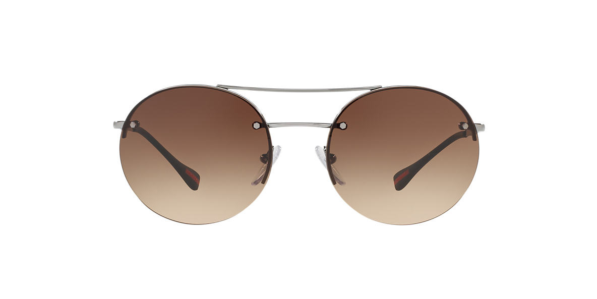 PRADA LINEA ROSSA Silver PS 54RS Brown lenses 56mm