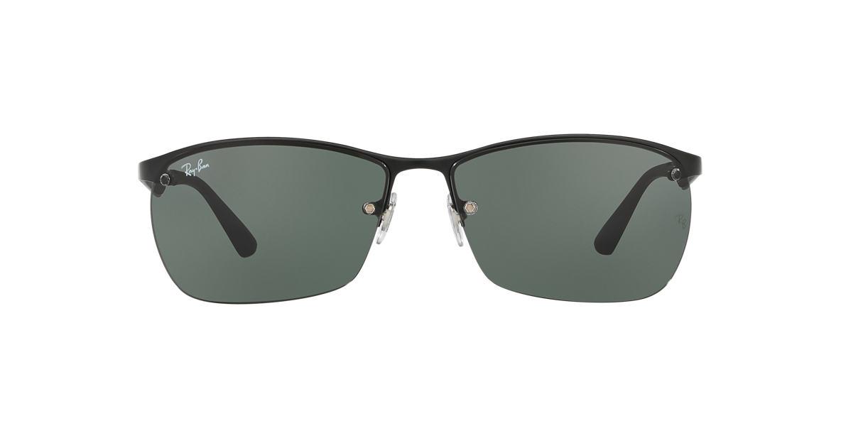 RAY-BAN Black Matte RB3550 64 Green lenses 64mm