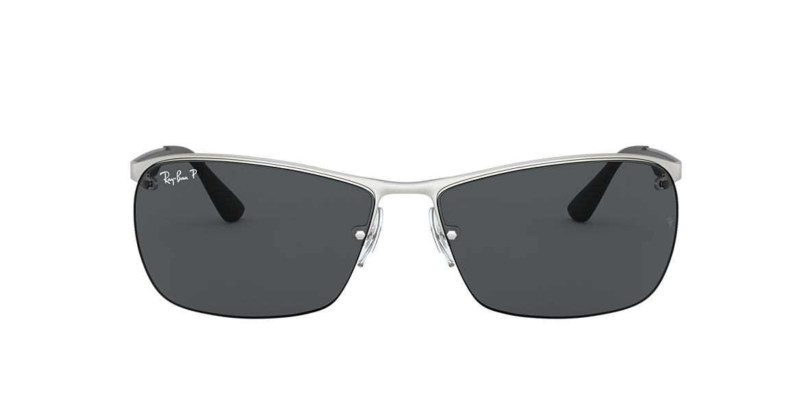 RAY-BAN Silver Matte RB3550 64 Grey polarized lenses 64mm