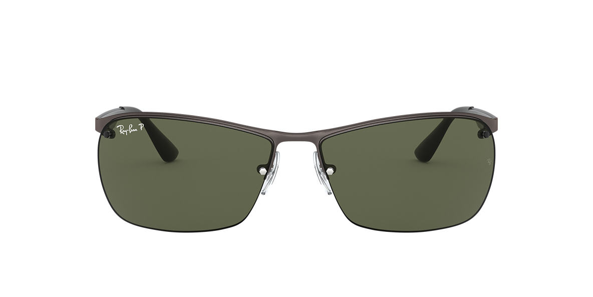 RAY-BAN Gunmetal Matte RB3550 64 Green polarized lenses 64mm