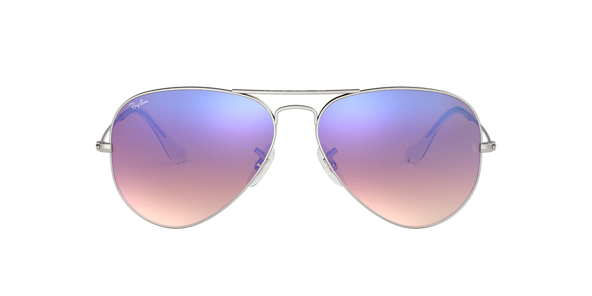 ray ban womens rb3025 silver blue  ray ban rb3025 58 original aviator 58 blue & silver matte sunglasses