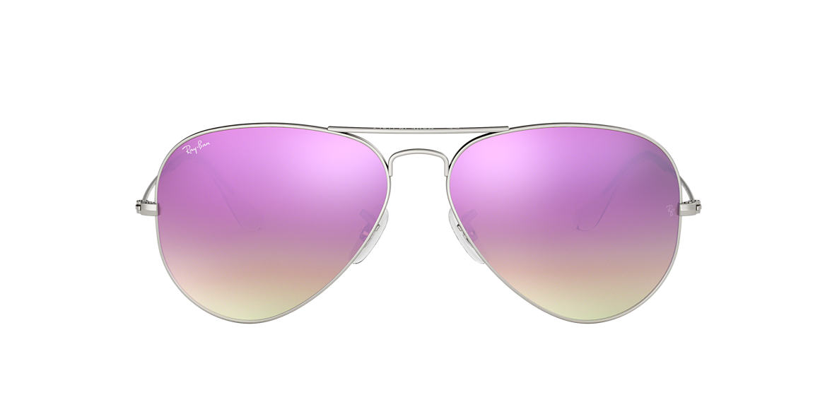 RAY-BAN Silver Matte RB3025 58 ORIGINAL AVIATOR Purple lenses 58mm