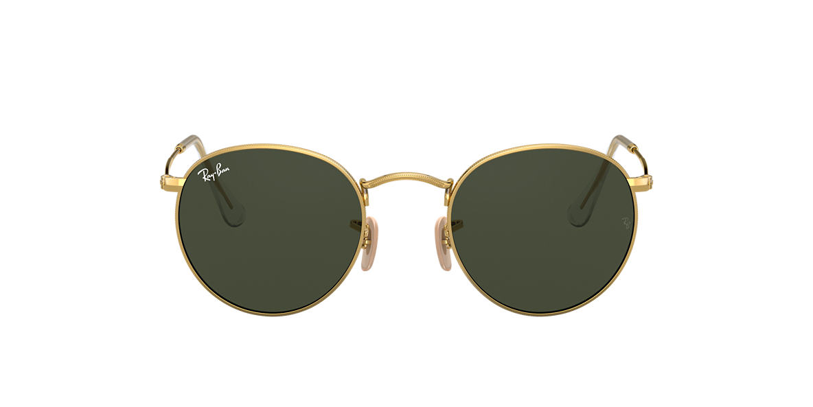 RAY-BAN Gold RB3447 53 ROUND METAL Green lenses 53mm