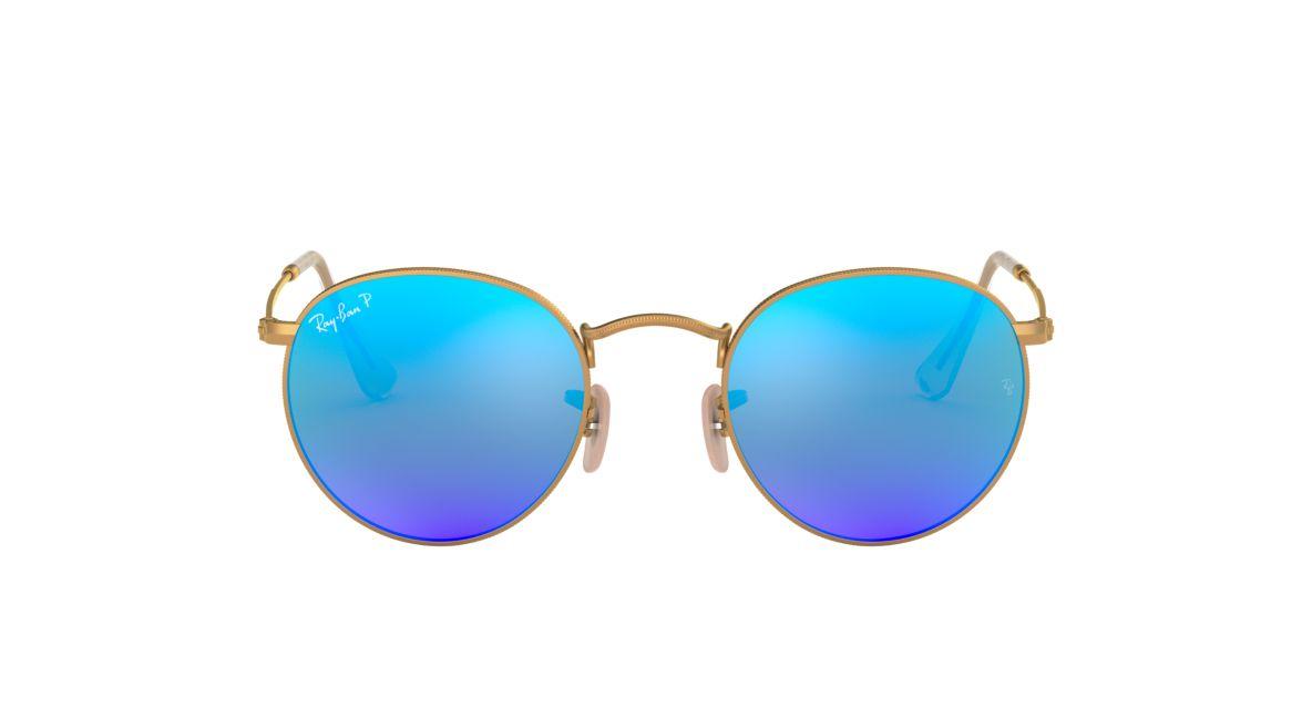 ray ban round metal azul