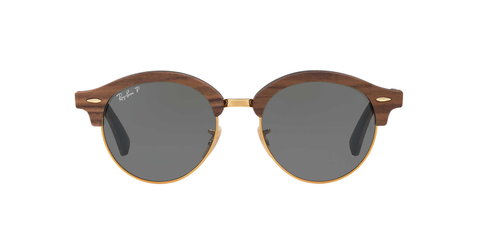 ray ban rb4246m 51 clubround wood - Wood Frame Sunglasses