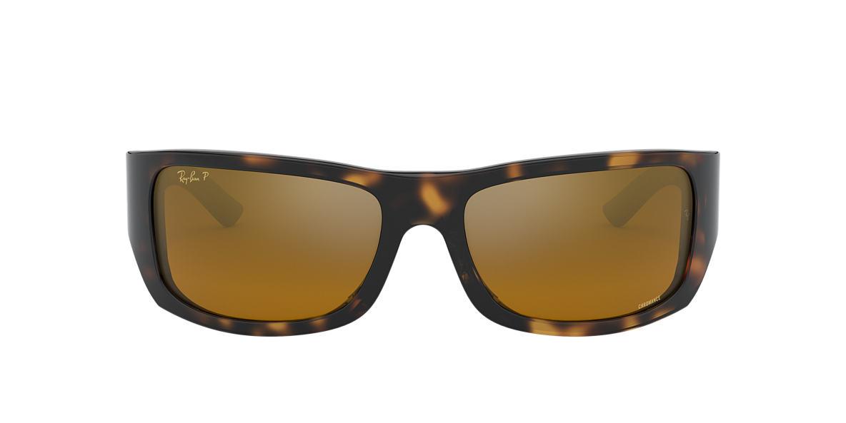RAY-BAN Tortoise RB4283CH Gold polarised lenses 64mm