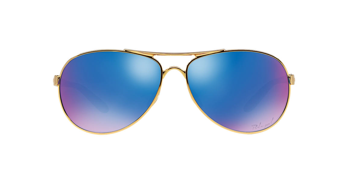 OAKLEY WOMENS Gold Shiny OO4079 FEEDBACK Blue polarized lenses 59mm