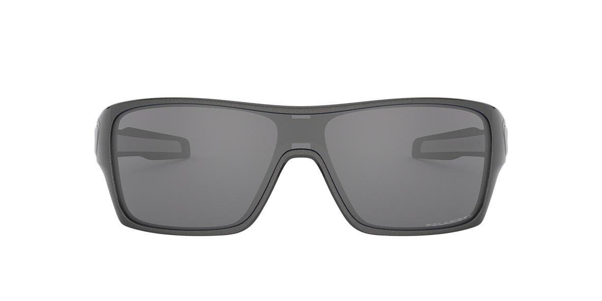 OAKLEY Silver TURBINE ROTOR Black polarised lenses 13mm