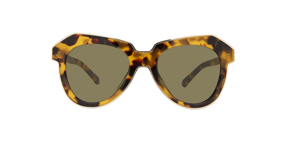 KAREN WALKER Tortoise ALTERNATE FIT O Green lenses 51mm