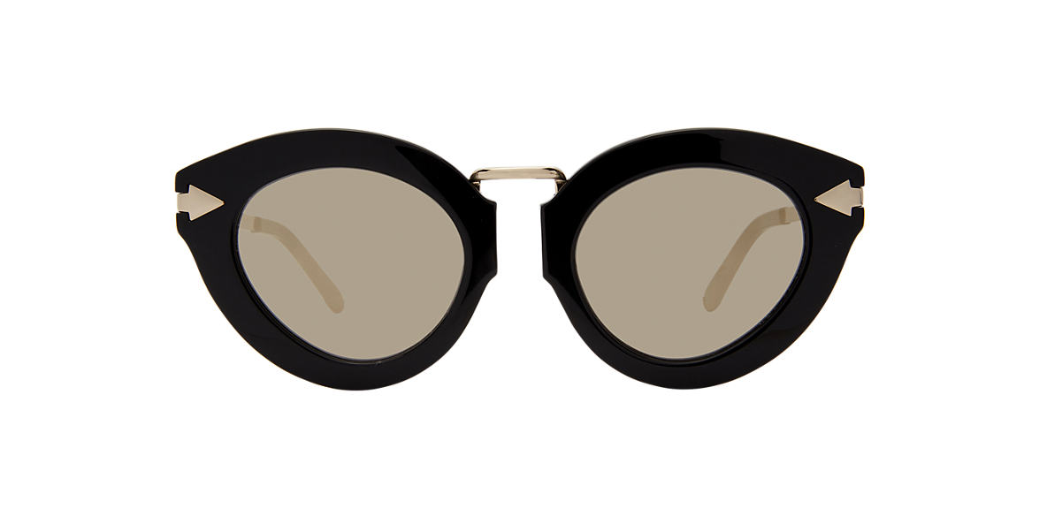 KAREN WALKER Black LUNAR FLOWERPAT Gold lenses 50mm