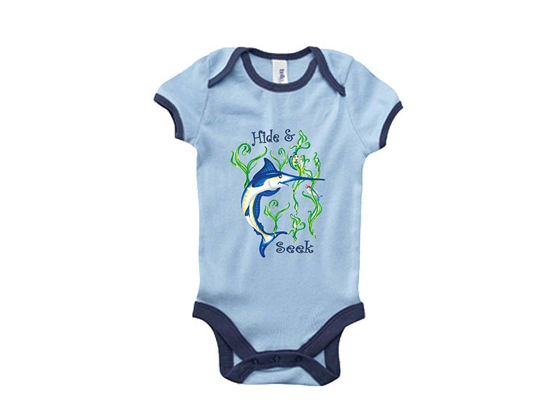 Saltwater Sandbox Hide-N-Seek Marlin Boy's Onesie