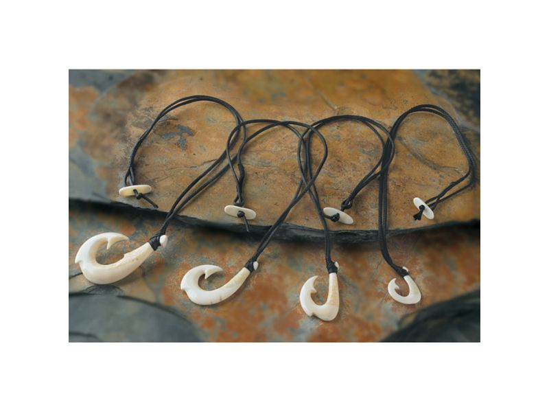 Hand Carved Ivory Fish Hook Necklaces