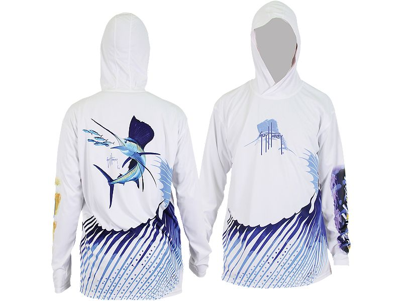 Guy Harvey Sailfish Hood Pro UVX Performance Long Sleeve Shirt