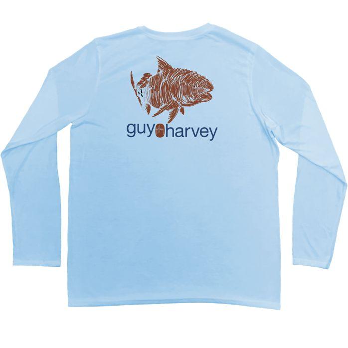 Guy Harvey Red Scribble Pro UVX Performance Long Sleeve Shirt