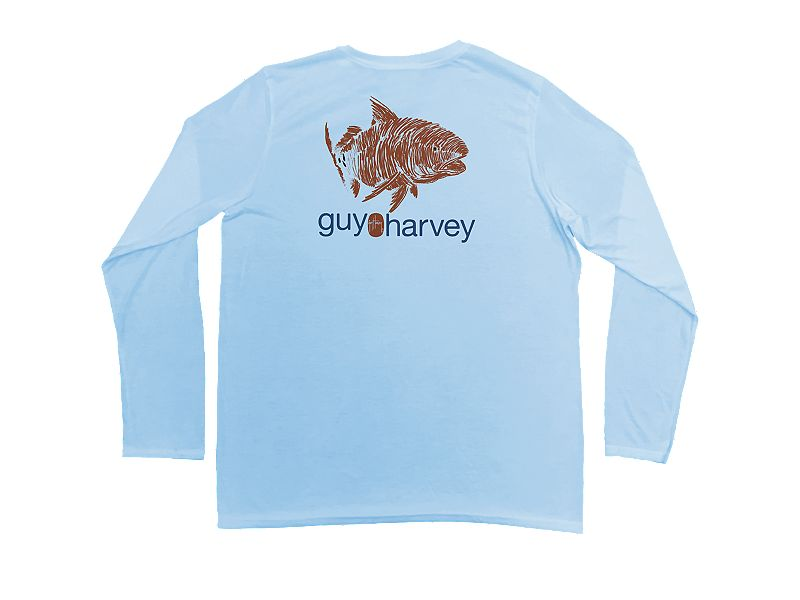 Guy Harvey Red Scribble Pro UVX Performance Long Sleeve Shirt