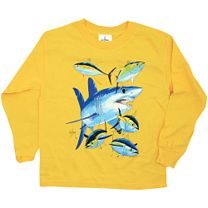 Guy Harvey Mako Shark Youth's Long Sleeve Shirt