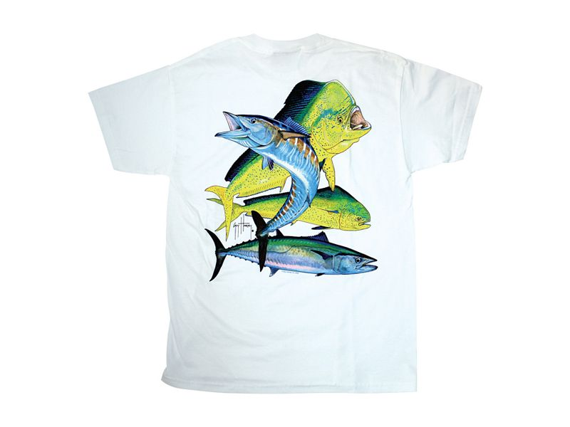 Guy Harvey Bull Dolphin, Wahoo, Kingfish Youth T-Shirt - White - Youth XL