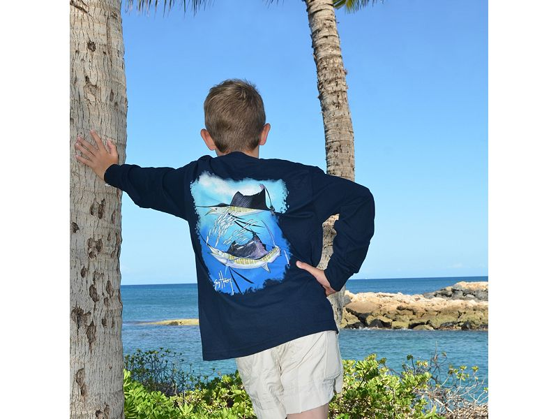 Guy Harvey Sailfish Spiral Youth Long Sleeve Shirt