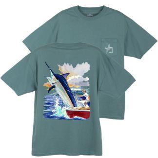 Guy Harvey Black Marlin Boat T-Shirt