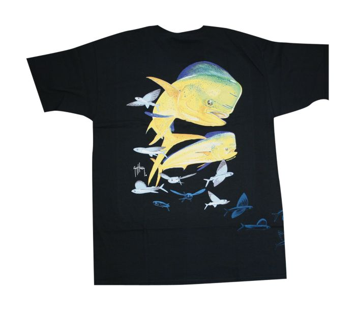 Guy harvey flying fish dolphin front and back t shirt for Guy harvey fishing shirts