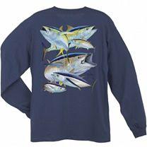 Guy Harvey Tuna Collage Long Sleeve Shirt
