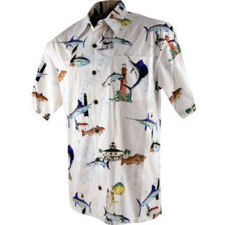 Guy harvey florida lighthouse buttondown shirt for Button down fishing shirts