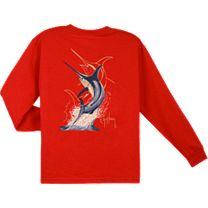 Guy Harvey Swordfish Strike Youth Long Sleeve Shirt